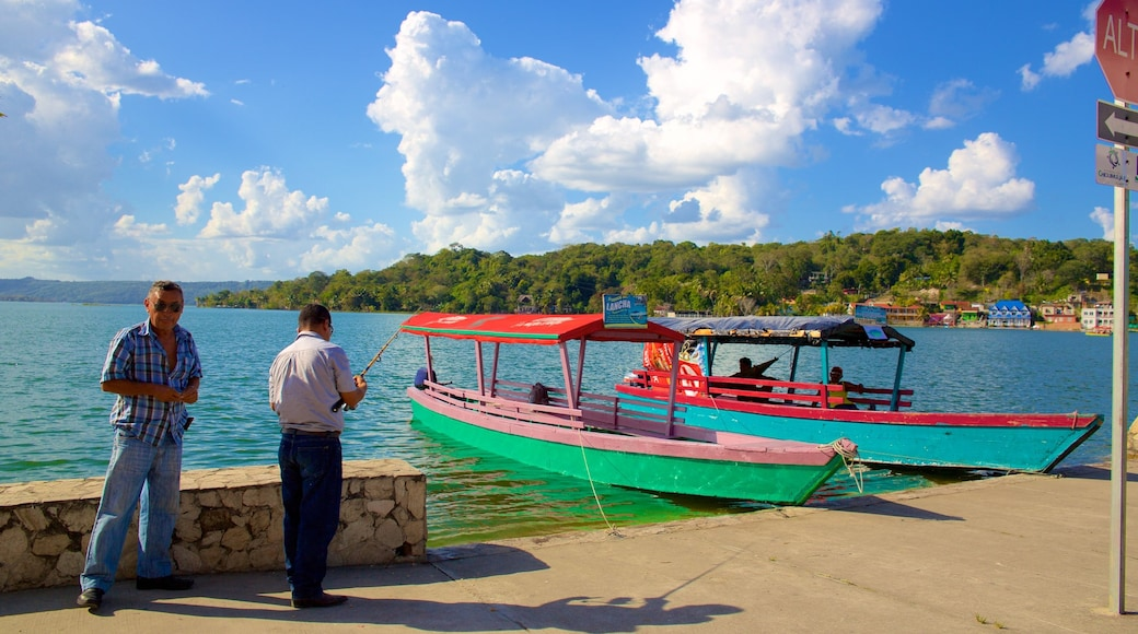 Flores showing general coastal views and fishing as well as a small group of people