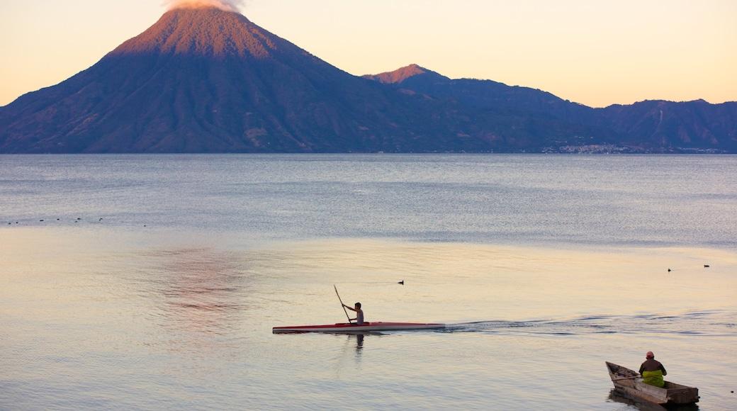 San Pedro Volcano showing mountains, general coastal views and kayaking or canoeing