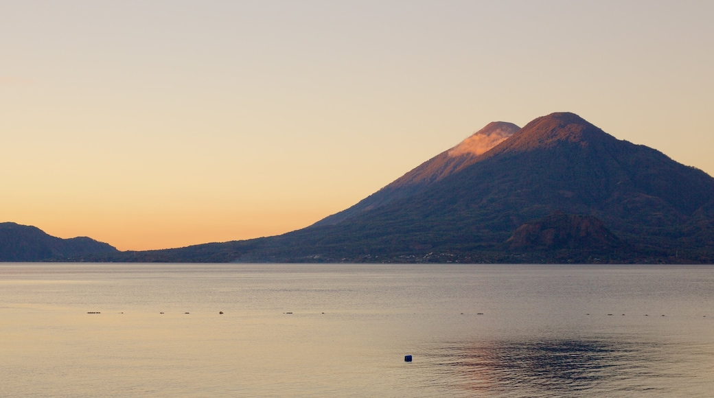San Pedro Volcano showing general coastal views, mountains and a sunset