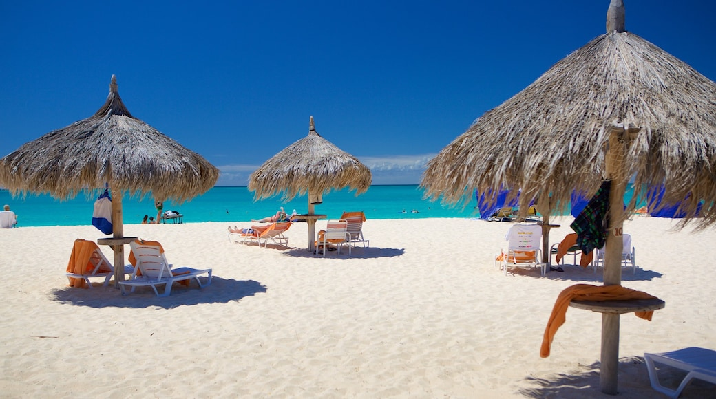 Eagle Beach which includes a sandy beach