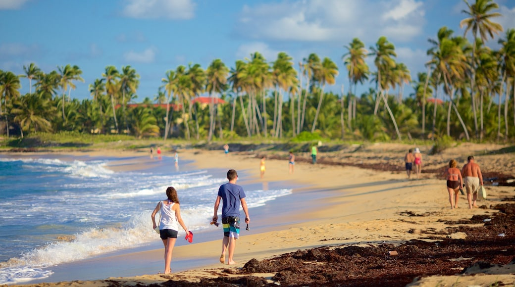 Uvero Alto which includes a sandy beach as well as a small group of people