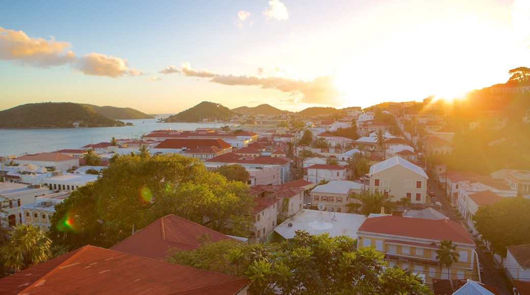 Charlotte Amalie showing a sunset, a coastal town and general coastal views