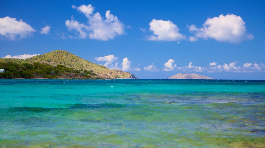 Sapphire Beach which includes general coastal views and rocky coastline