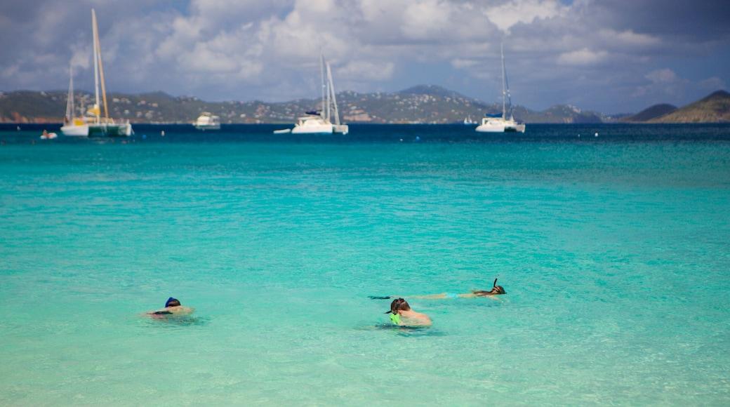 Honeymoon Beach mostrando paisagens litorâneas e snorkel
