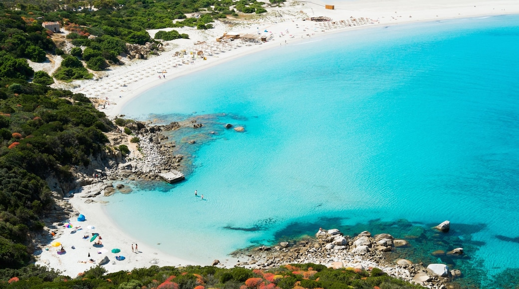 Villasimius which includes a sandy beach