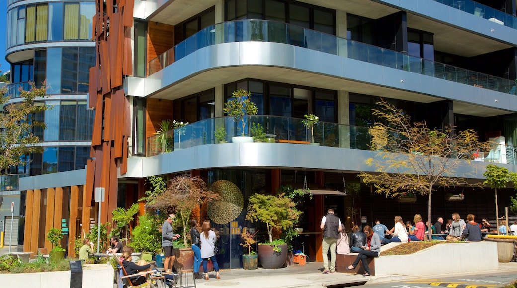 Acton which includes modern architecture and cafe lifestyle