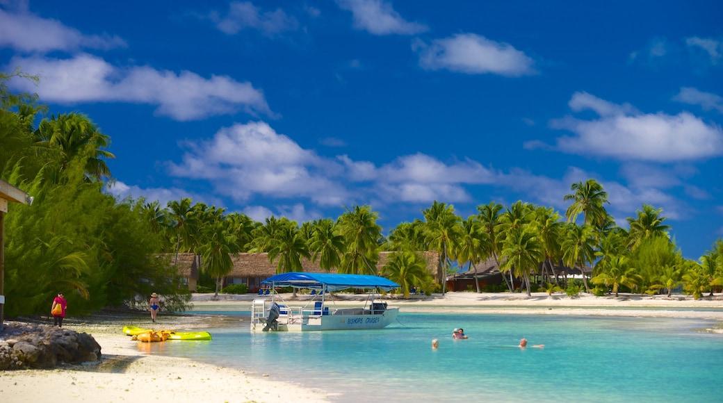 Aitutaki das einen Schwimmen, Strand und tropische Szenerien