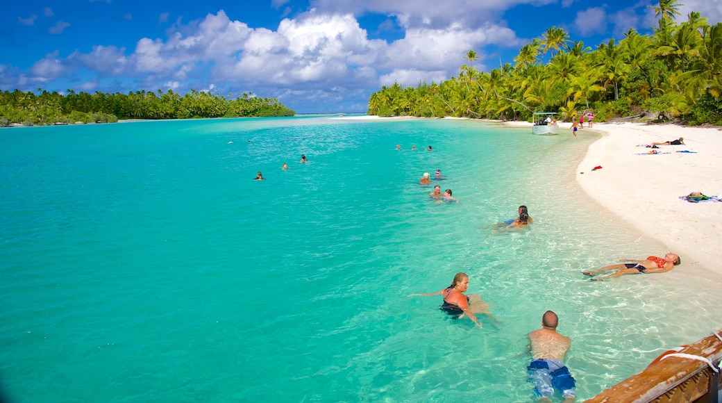 One Foot Island Beach showing a sandy beach as well as a small group of people
