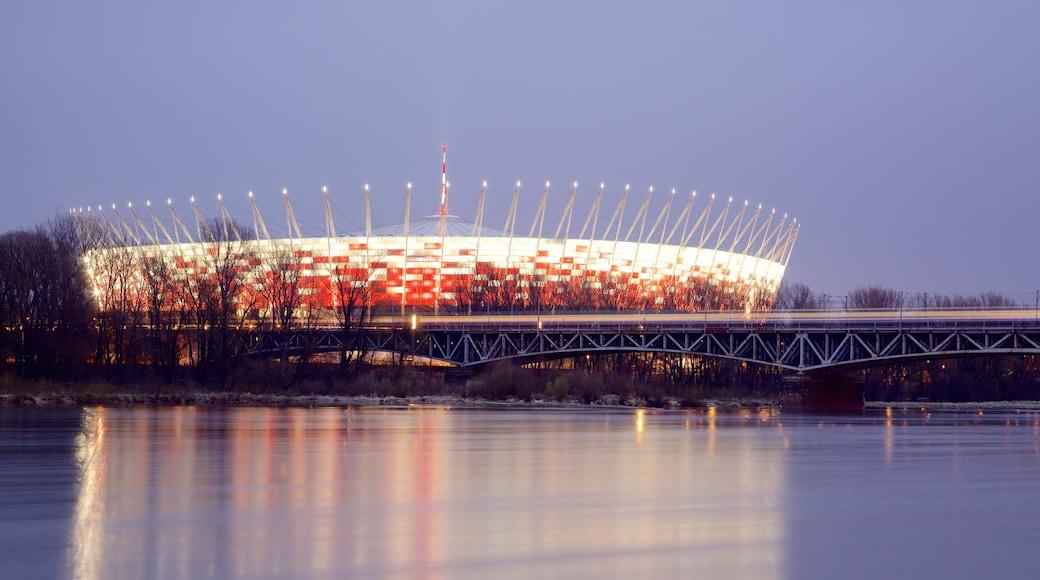 Stade national montrant scènes de nuit