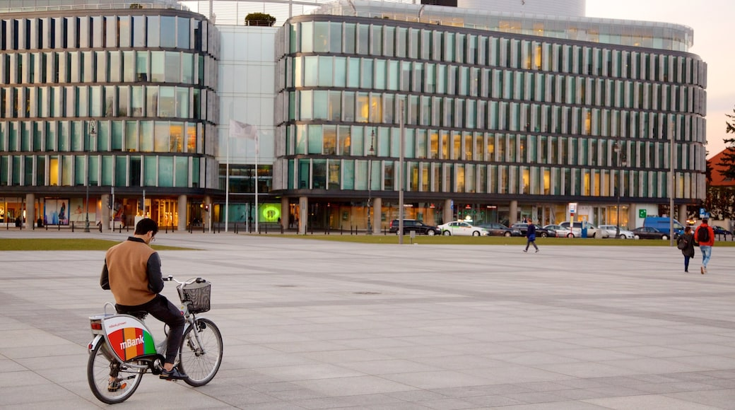 Pilsudski Square showing cycling and a square or plaza as well as an individual male