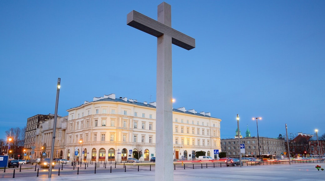 Pilsudski Square which includes a square or plaza and religious aspects