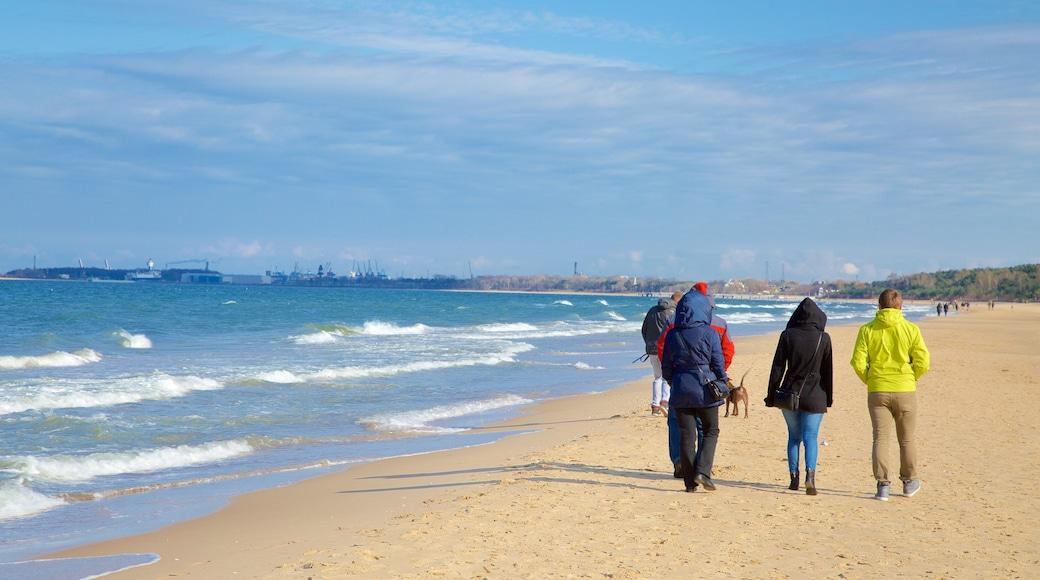 Plage de Jelitkowo qui includes plage de sable aussi bien que petit groupe de personnes