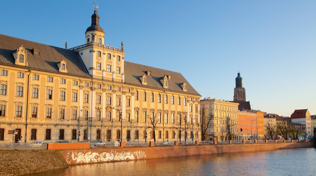 Wroclaw University featuring a river or creek and heritage architecture