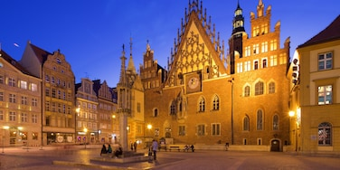 Wroclaw Town Hall which includes night scenes and a square or plaza