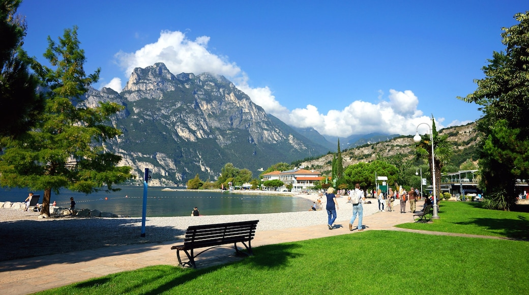 Riva del Garda mostrando montagna, lago o sorgente d\'acqua e giardino