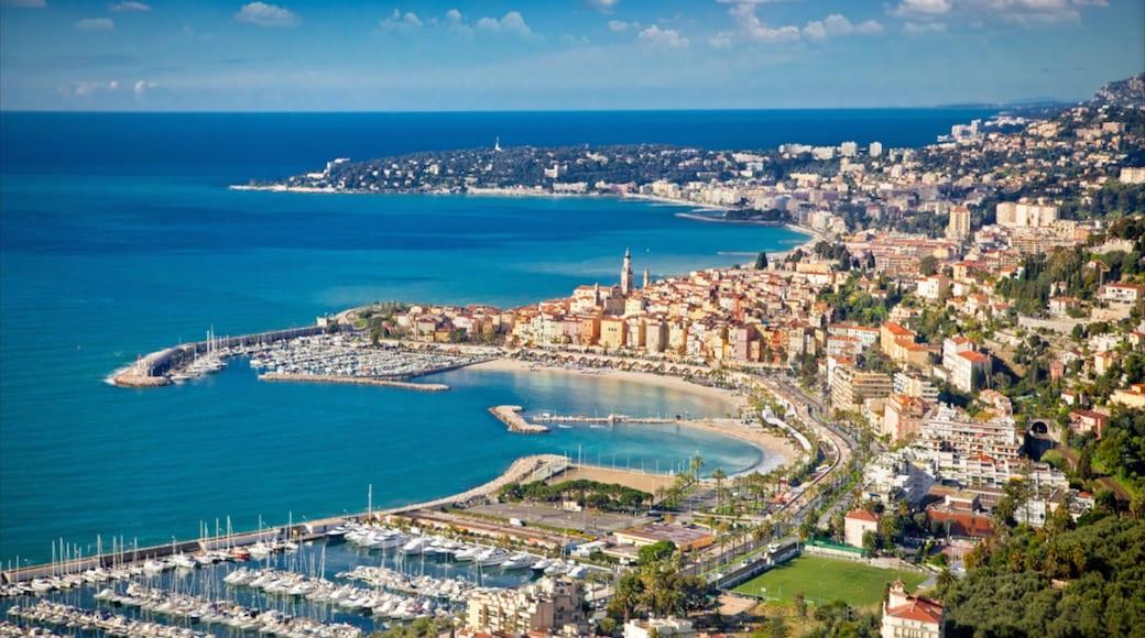 Sanremo showing general coastal views, a city and a marina
