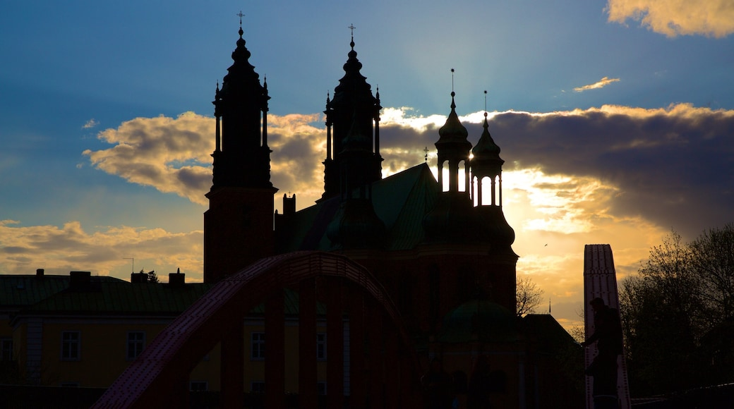 Archcathedral Basilica of St. Peter and St. Paul which includes heritage architecture and a sunset