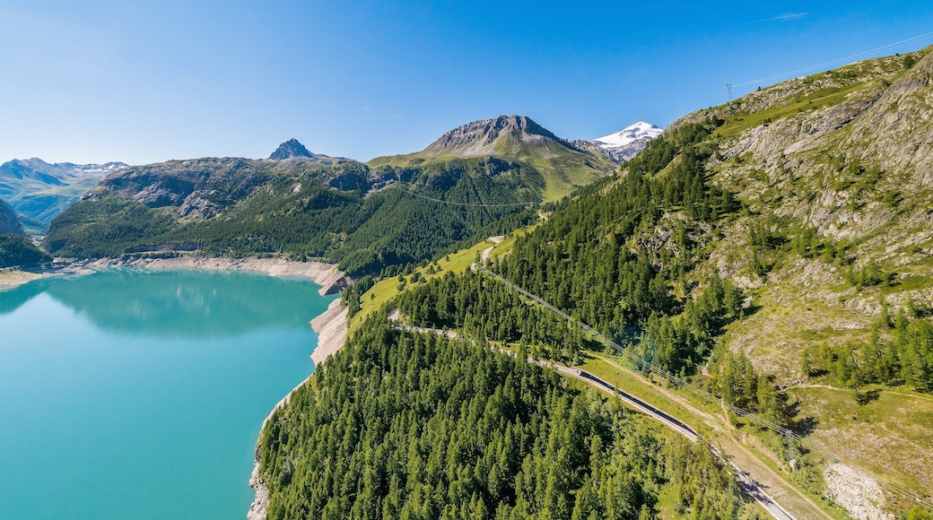 Alpes du Nord which includes forests, landscape views and a lake or waterhole