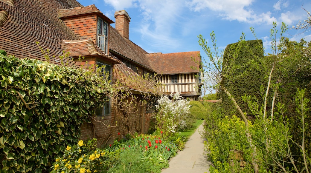Great Dixter House and Gardens showing a house and a garden