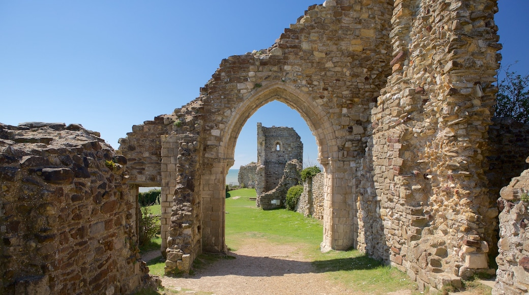 Hastings Castle showing heritage elements and building ruins