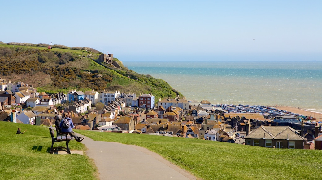Hastings Castle featuring general coastal views and a coastal town