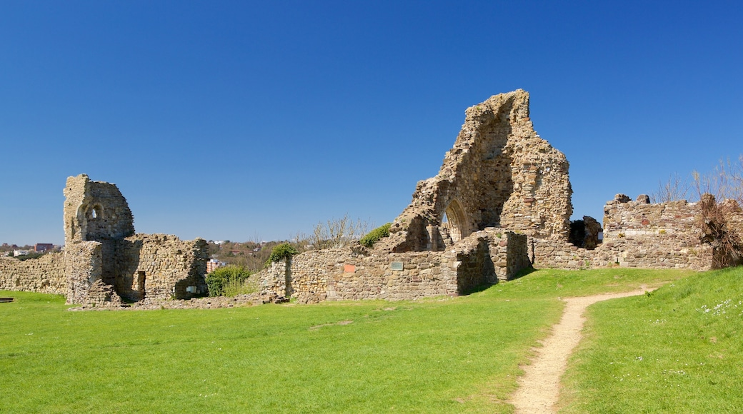 Hastings Castle featuring heritage elements and a ruin