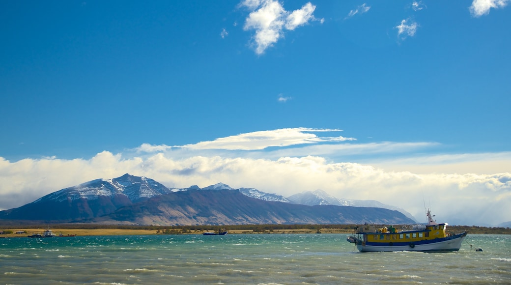 Puerto Natales showing a lake or waterhole and landscape views