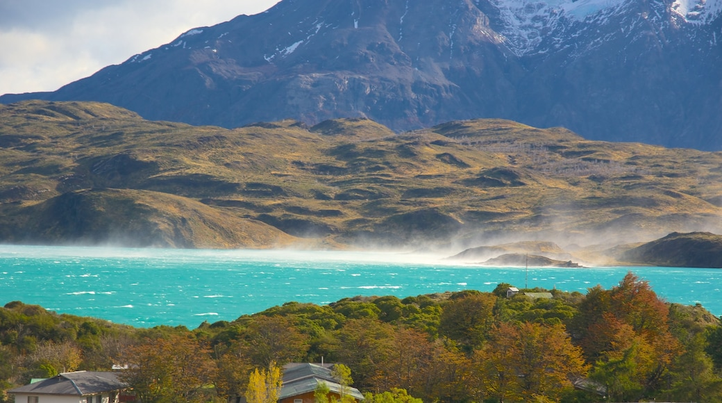 Torres Del Paine which includes a lake or waterhole and mountains