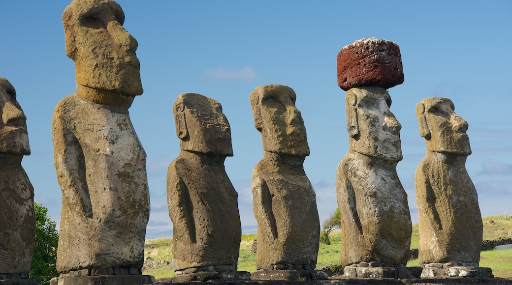 Ahu Tongariki which includes heritage elements and a statue or sculpture