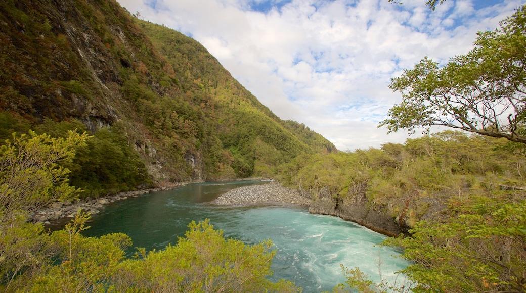 Chutes de Petrohue montrant rivière ou ruisseau et montagnes