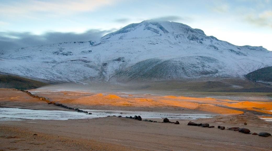 El Tatio Geyser Field das einen Wüstenblick, Berge und Schnee