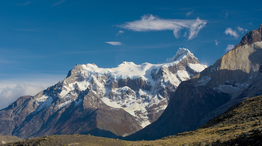 Torres Del Paine showing mountains, snow and tranquil scenes