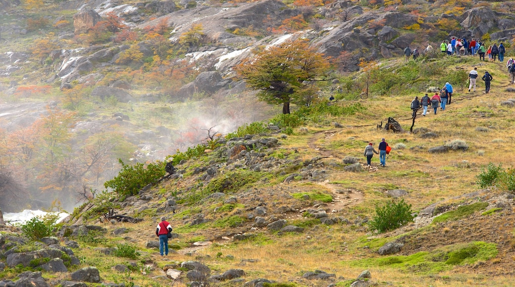 El Calafate which includes tranquil scenes and hiking or walking as well as a large group of people