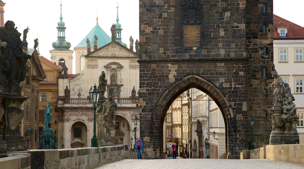 Charles Bridge featuring a city and heritage elements