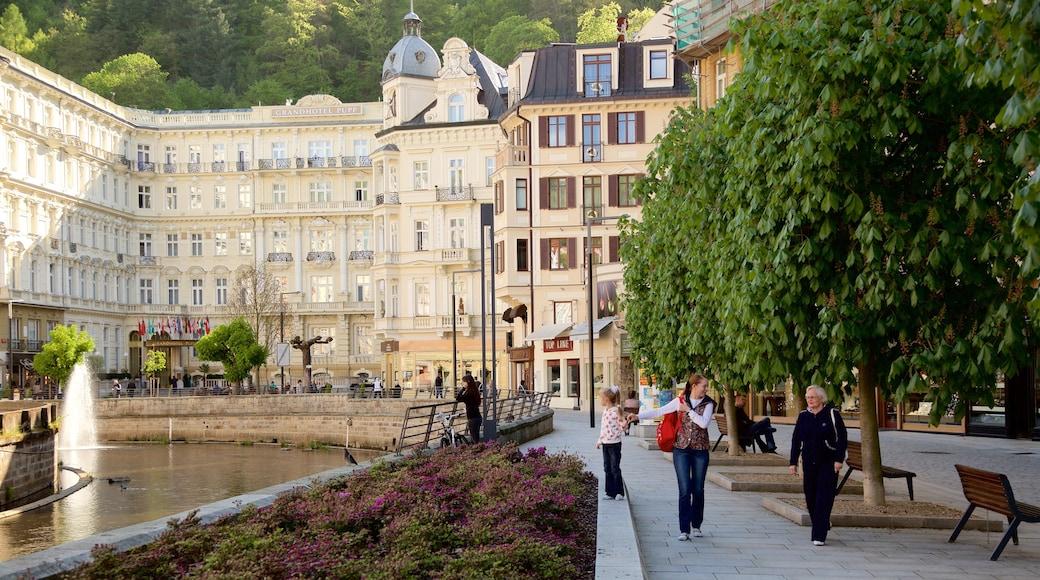 Karlovy Vary presenterar en å eller flod och en stad