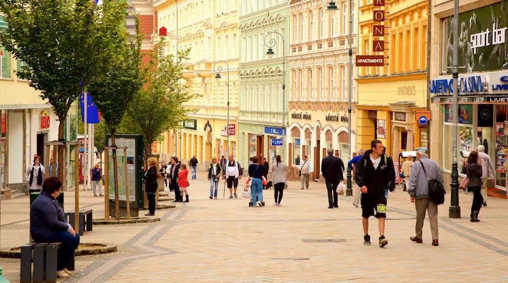 Karlovy Vary welches beinhaltet Stadt und Straßenszenen sowie große Menschengruppe