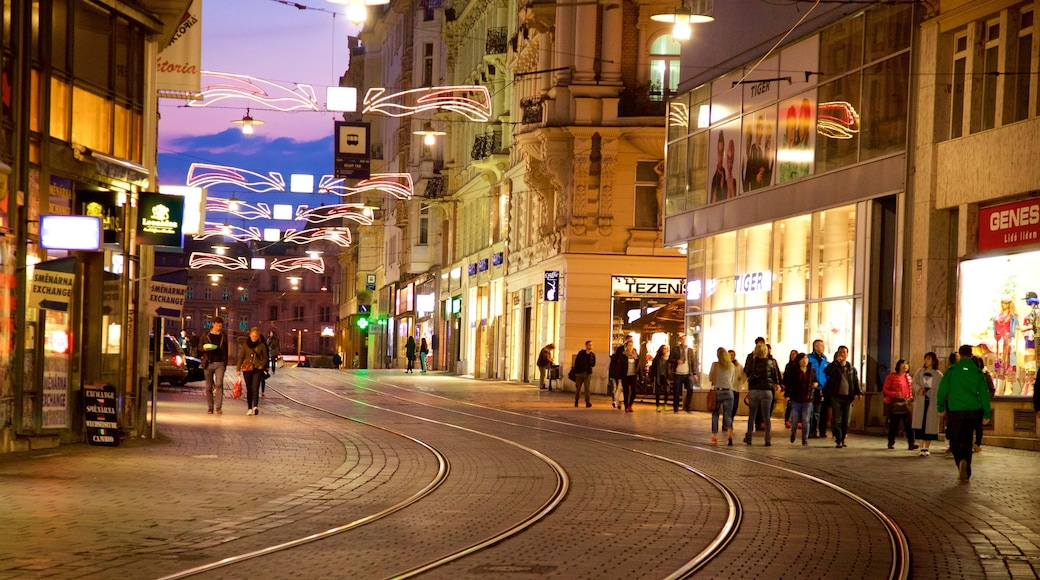 Brno showing a city and a sunset