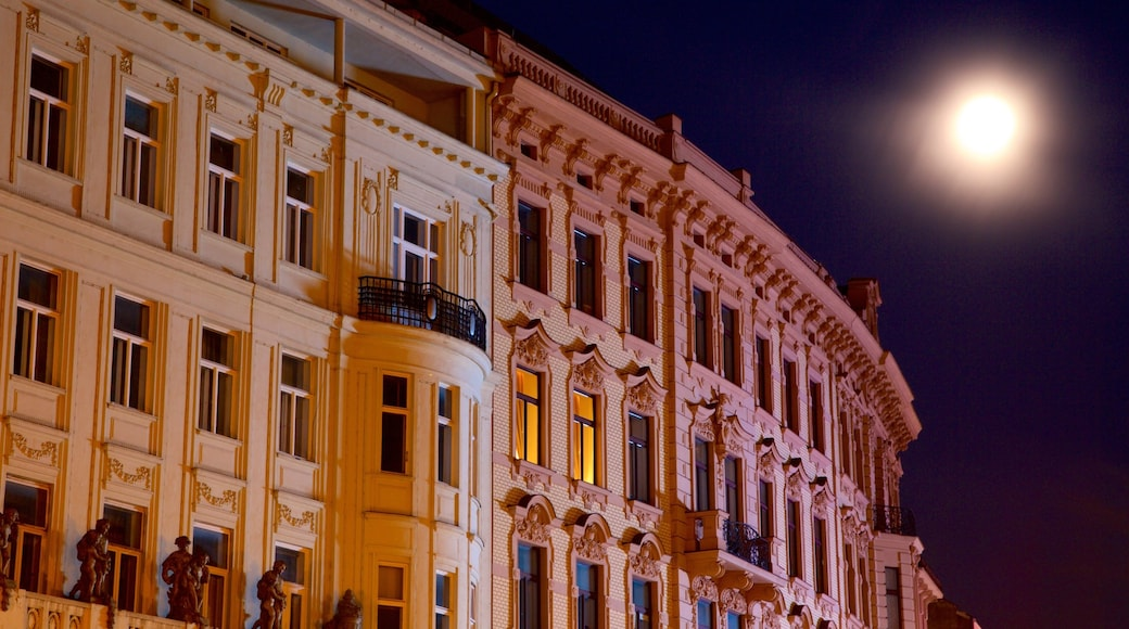 Brno showing heritage architecture, night scenes and heritage elements