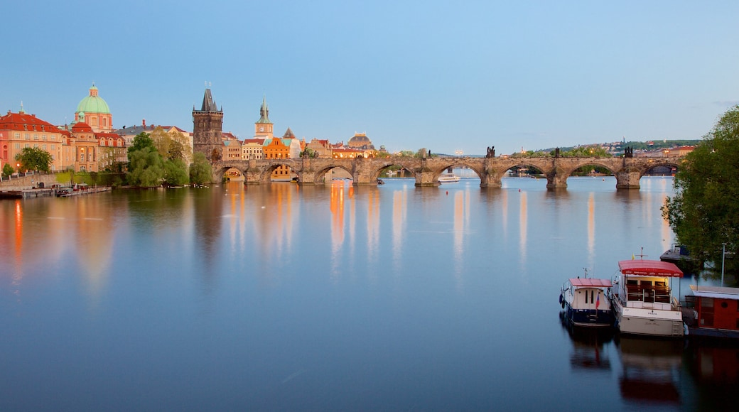 Charles Bridge featuring a city, a bridge and a river or creek