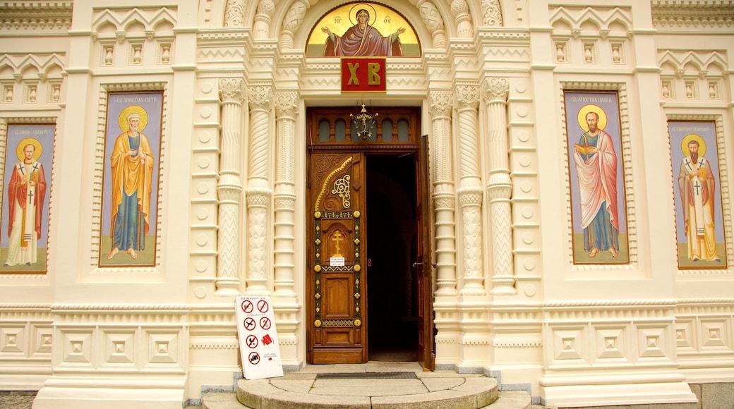 Karlovy Vary mit einem historische Architektur, Geschichtliches und Kirche oder Kathedrale