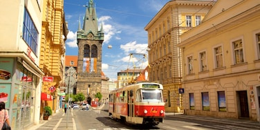 Nove Mesto which includes a city, heritage elements and railway items