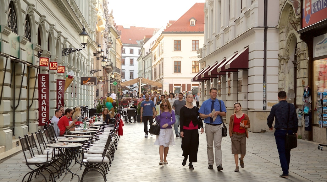 Bratislava featuring a city and street scenes as well as a large group of people