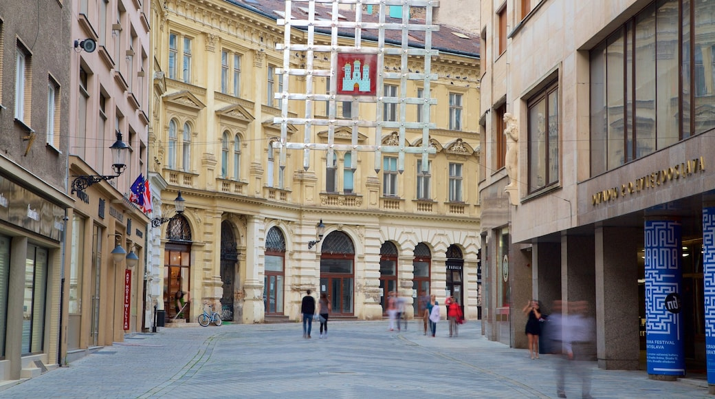 Bratislava showing street scenes and a city