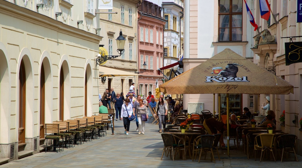 Bratislava showing a city, street scenes and cafe scenes