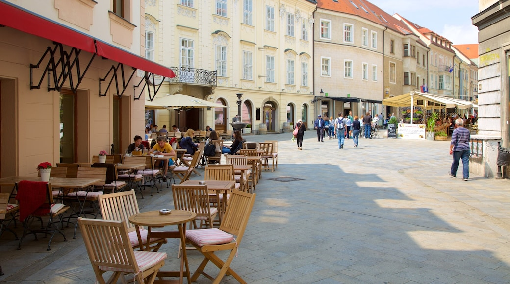Western Slovakia showing outdoor eating and street scenes