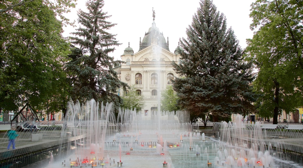 Kosice which includes a square or plaza, a city and a fountain