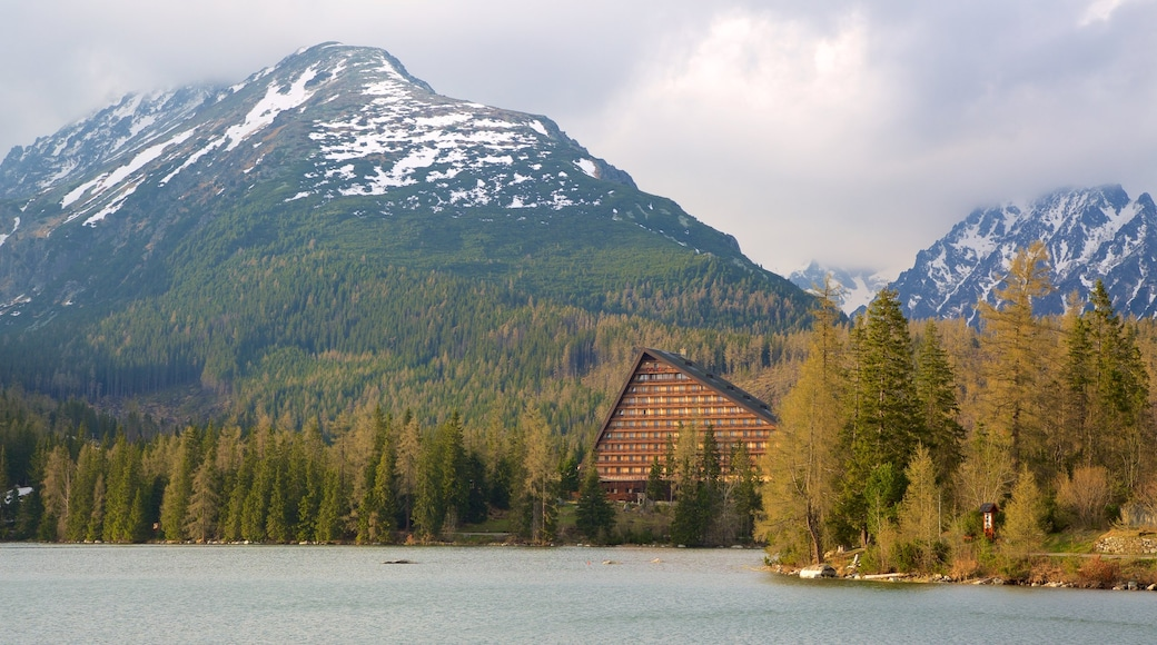 Strbske Pleso which includes mountains, tranquil scenes and a lake or waterhole