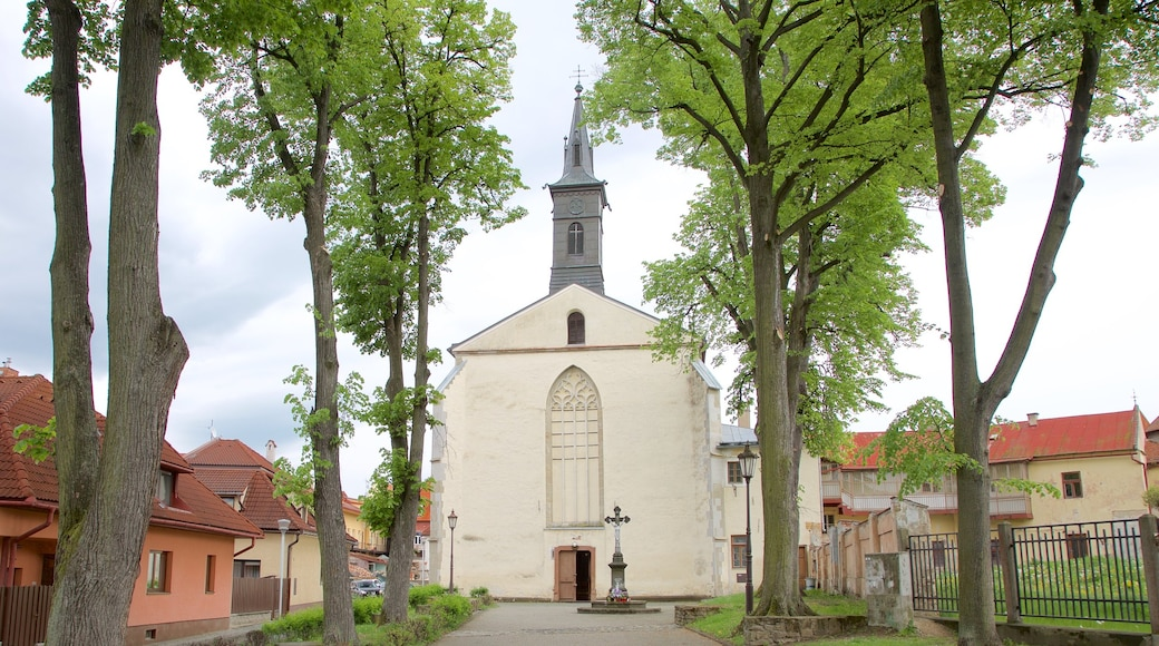 Bardejov which includes a church or cathedral and a garden