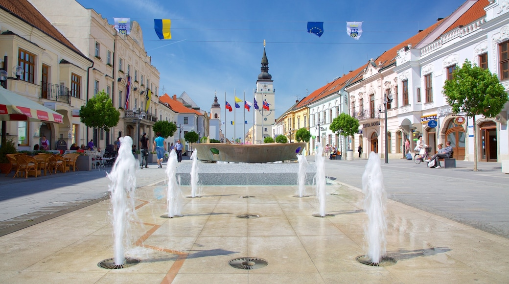Trnava which includes a square or plaza, street scenes and a fountain