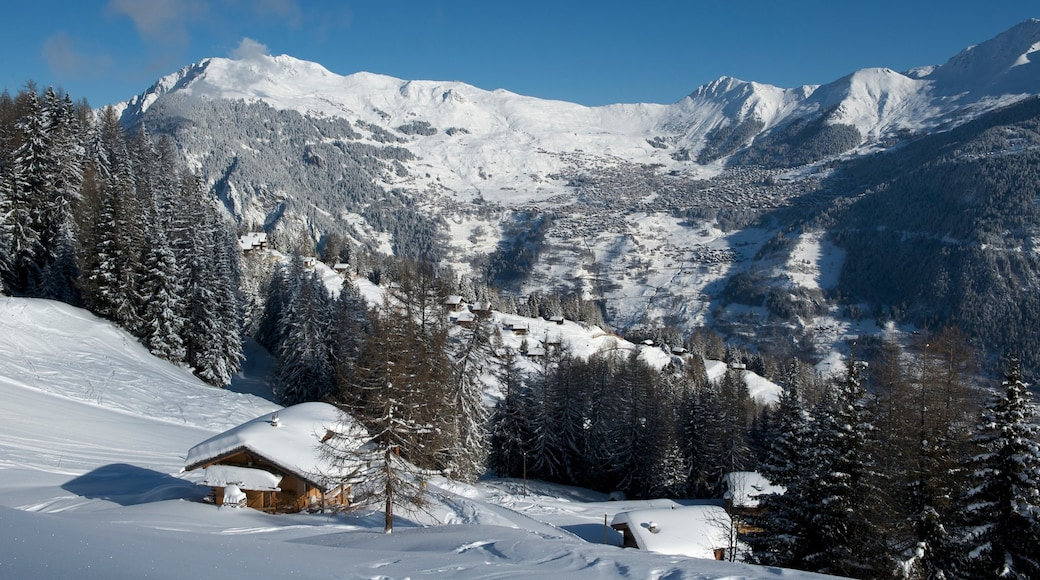 Verbier showing snow, forests and a small town or village